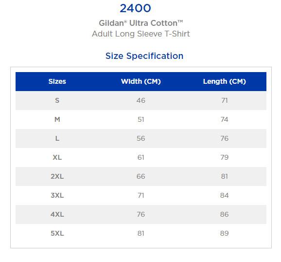 Gildan 2400 Size Chart
