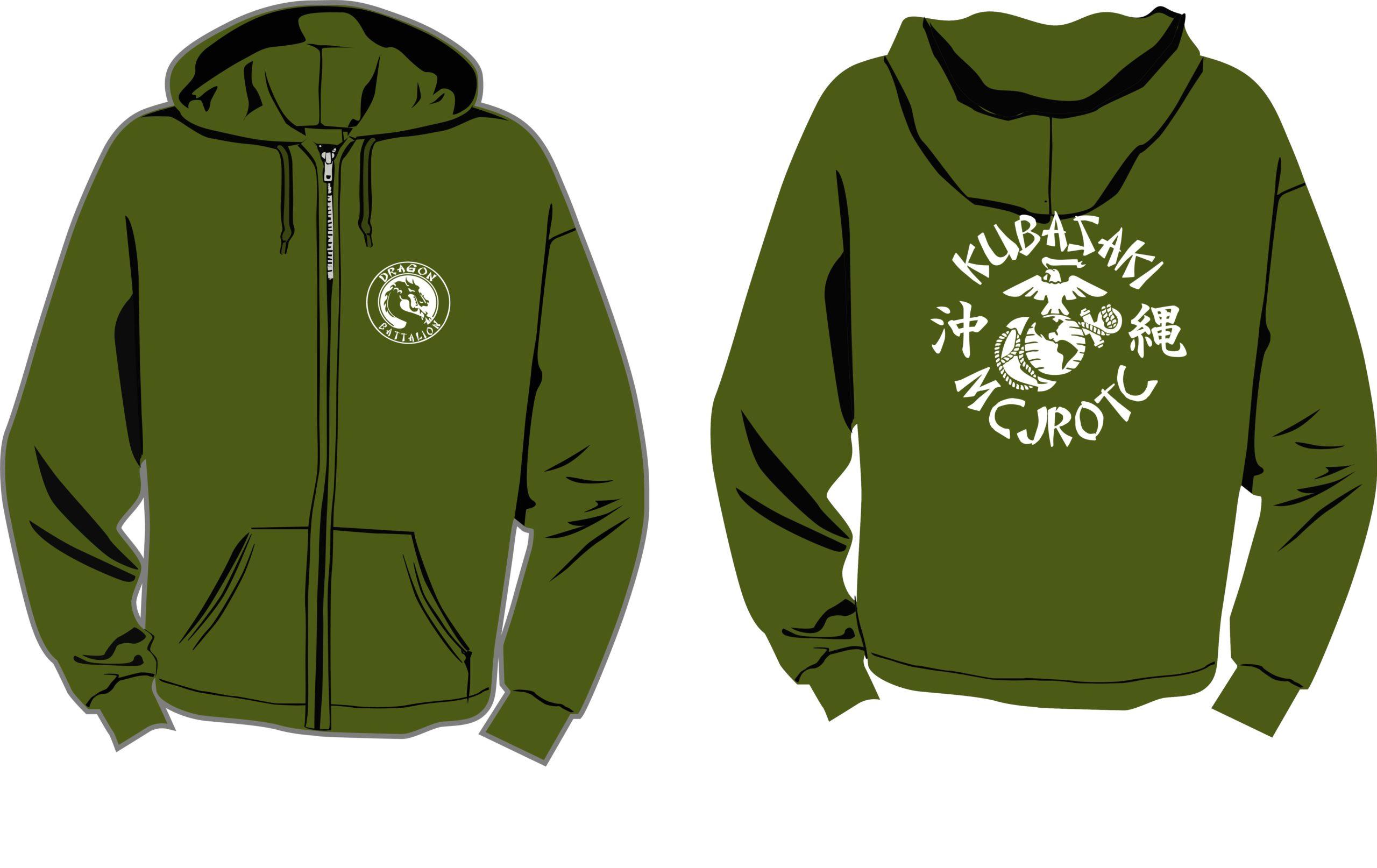 Od Green Zipper Front Hooded Sweat